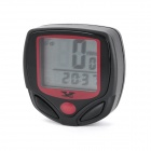 "1.5"" LCD 15-Function Waterproof Wired Bike Computer Odometer Speedometer - Black + Red (1 x LR44)"
