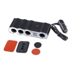 4 Sockets Car Cigarette Lighter Charger Adapter with Dual USB Ports - Black + Silver (DC 12V)