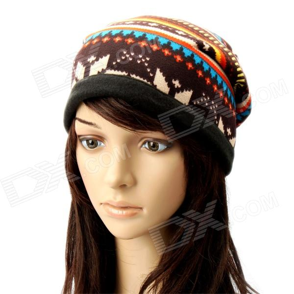 Multi-Function Stripe Pattern Cashmere Warm Keep Hat Scarf - Brown