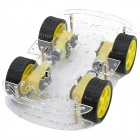 Dual-Layer-4-Motor Smart Car Chassis w / Speed Messung Coded Disc - Schwarz + Gelb