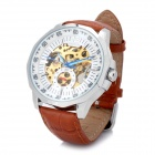 Fashion Full-Automatic Mechanical Wrist Watch for Men - White + Brown