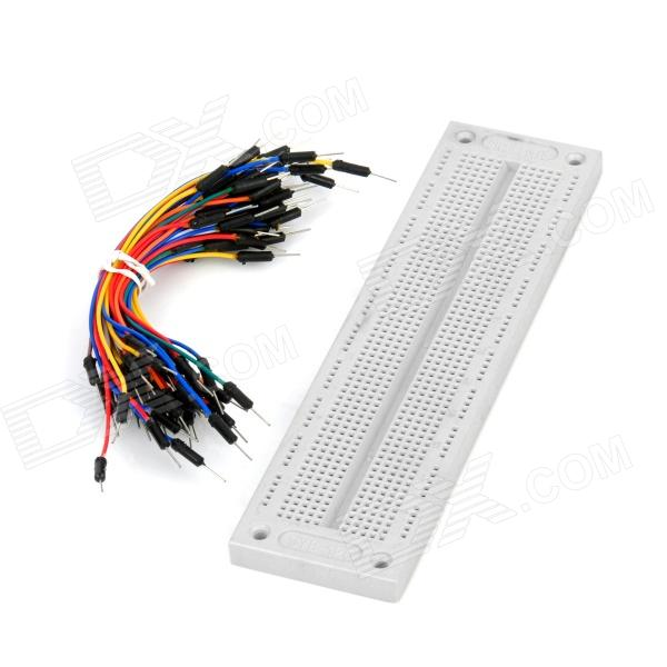 SYB-120 Breadboard with Jump Wires Kit for Electronic DIY - WhiteKits<br>ModelI081812Quantity1ColorWhiteMaterialABSFeaturesBreadboard with jump wires kitApplicationFor electronic DIY projectsPacking List65 x breadboard jump wires (22cm)1 x SYB-120 breadboard<br>