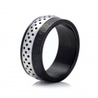 Stainless Steel Finger Ring for Men - Silver + Black (US 11 Size)
