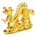 Stylish Dragon Shaped Alloy + Iron Windproof Gas Lighter - Golden