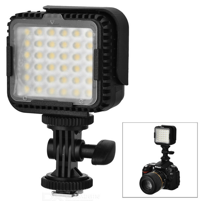 2.2W 5400K 230lm 36-LED Flash Video Lamp - Black