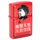 Chairman Mao Pattern Stainless Steel + Plastic Windproof Oil Lighter - Red