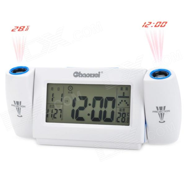 Chaowei 3.8 LCD Sound Activated Dual Projection Alarm Clock - White (3 x AAA) novelty run around wake up n catch me digital alarm clock on wheels white 4 aaa