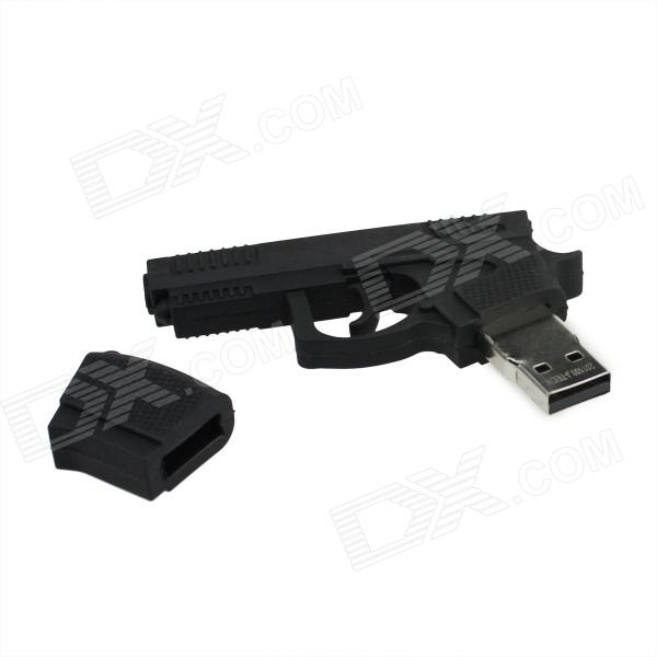 Novelty Pistol Style USB 2.0 Flash Drive - Black (4GB)