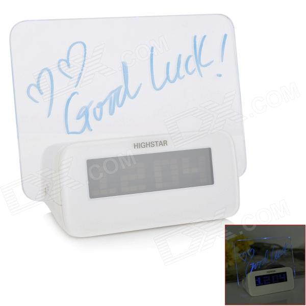 3.0 LED Blue Backlight Alarm Clock w / Message Board / Thermometer / Calendar (3 x AAA) blue led backlit digital clock with calendar temperature alarm 4 aa