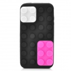 Unique Brick Block Style Soft Silicone Back Case for iPhone 4 / 4S - Black