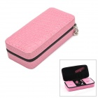 Elegant Rectangular PU Leather Zipper Jewelry Storage Case - Pink