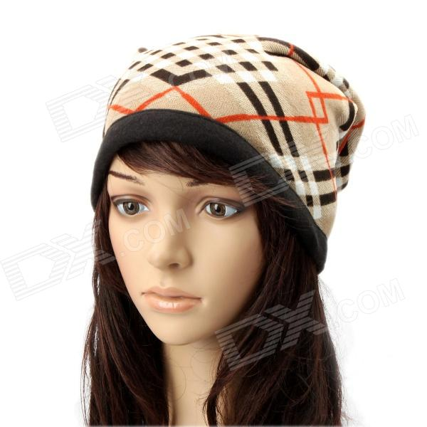 Multi-Function Check Plaid Pattern Cashmere Warm Keep Scarf - Light Brown