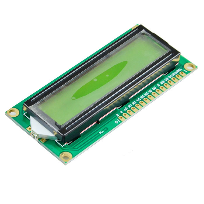1602A 16 x 2 Lines Black Character LCD Module w/ Chartreuse Yellow Backlight (DC 5V)