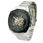Genuine Wilon Square Full-Automatic Skeleton Mechanical Wrist Watch for Men - Black + Silver