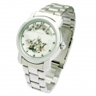 Genuine Wilon Full-Automatic Skeleton Mechanical Wrist Watch for Men - Silver