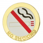 3D Cool No Smoking Pattern Aluminum Alloy Car Sticker - Golden