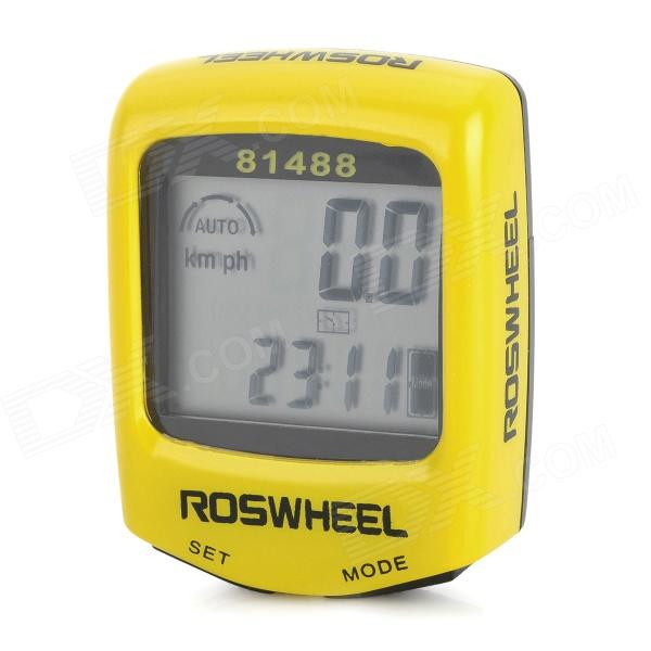 "1.5"" LCD Electronic Bicycle Computer / Speedometer - Yellow + Black (1 x LR1130)"