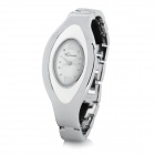 KIMIO K439L Oval Woman's Stainless Steel Analog Quartz Waterproof Wrist Watch - Silver + White