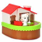Cute Rat and Cat Style Plastic Coin Bank - Red + White + Green (2 x AA)