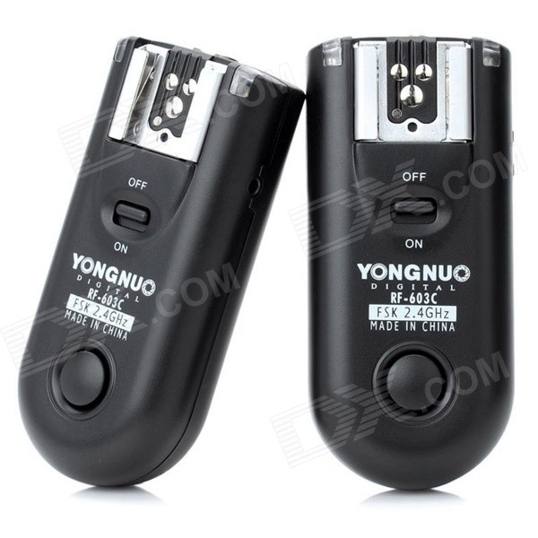 YONGNUO RF-603-C1 16-CH Wireless Flash Trigger Transmitter Receiver Set - Black viltrox mc c1 1 2 lcd digital timer remote controller for canon 1000d 60d 500d 2 x aaa