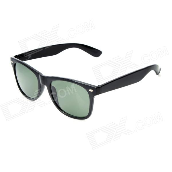 Fashion Sports Glass Lens UV400 Protection Sunglasses - Black