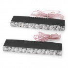 1W 12~18lm 6000K 6-LED White Light Car Fog Lamps - White + Black (2 PCS)