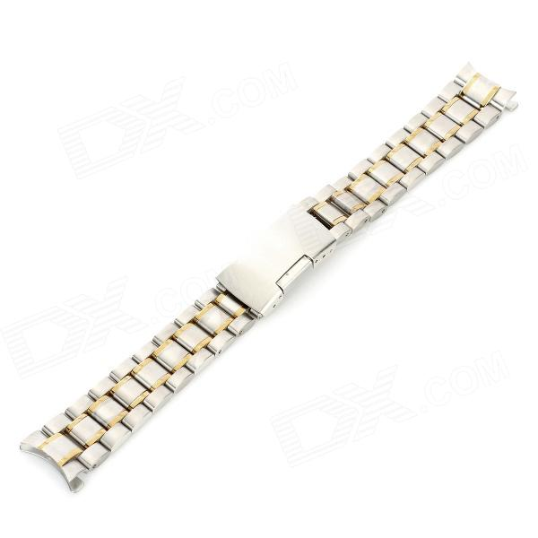 Replacement QG-04 18mm Stainless Steel Watch Band - Silver + Golden