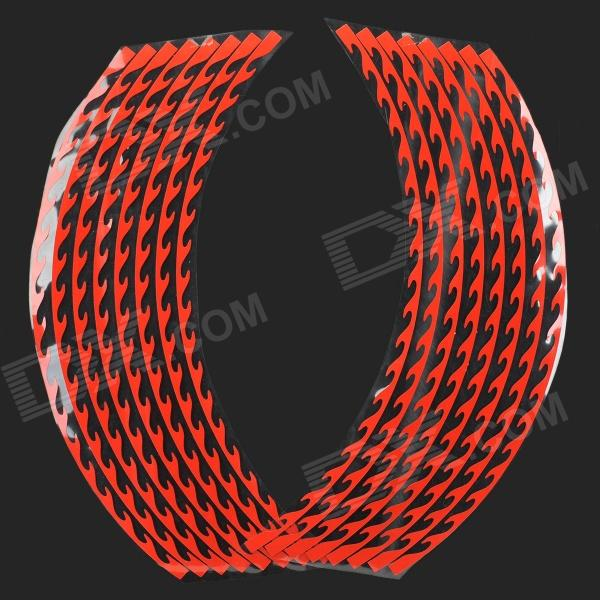 "18"" Flame Style Motorcycle Reflective Sticker - Red (2 x 8 PCS)"