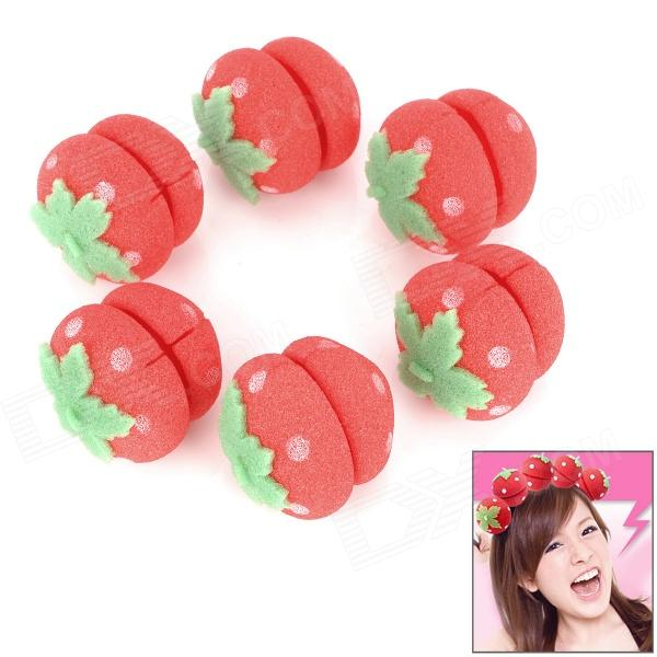 Cute Strawberry Style Hair Curler Balls - Red + Green (6 PCS) 6 pcs cute resin animal hello kitty kids elastic hair bands baby headdress children hair ropes girls hair accessories