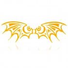Bat Style Motorcycle Reflective Sticker - Yellow