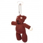 Cute Bear Style Nylon + Foam Particles Keychain w/ Suction Cup - Coffee + White + Black