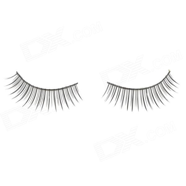 Decoration False Eyelashes for Beauty Makeup - Black (Pair)