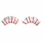 Beauty Makeup Shining False Eyelash - Silver + Red (Pair)