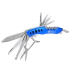 Portable 15-in-1 Folding Stainless Steel Knife Tool - Blue + Silver