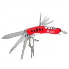 Portable 15-in-1 Folding Stainless Steel Knife Tool - Red + Silver