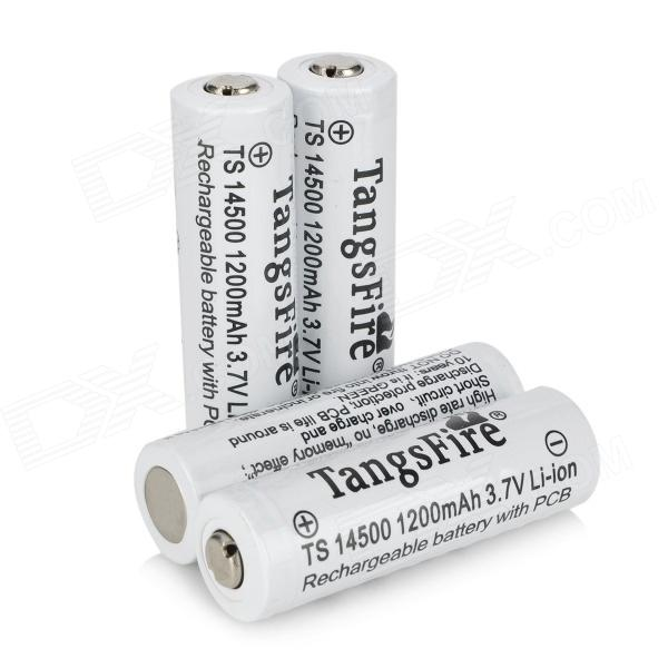TangsFire 14500 1200mAh 3.7V Rechargeable Li-ion Battery - White 4 PCS) fandyfire protected 14500 rechargeable 3 7v 400mah li ion batteries white pair