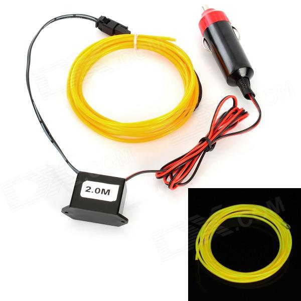Car Cigarette Lighter Powered Flexible Neon Light Glow EL Wire w/ Drive - Yellow (DC 12V / 2m)