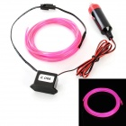 Car Cigarette Lighter Powered Flexible Neon Light Glow EL Wire w/ Drive - Pink (DC 12V / 2m)