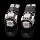 T10 3W 100~120lm 300K 5-SMD 5050 LED Blue Light Car Lamps - White + Black (2 PCS)