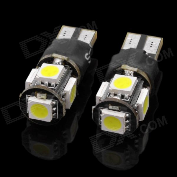T10 3W 100~120lm 6500K 5-SMD 5050 LED White Light Car Lamps - White + Black (2 PCS) lx 3w 250lm 6500k white light 5050 smd led car reading lamp w lens electrodeless input 12 13 6v