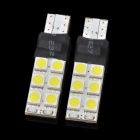 T10 3W 200~240lm 6500K 12-SMD 5050 LED White Light Car Lamps - White (2 PCS)