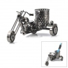 Decorative Motorcycle Style Steel Pen Holder - Grey + Black