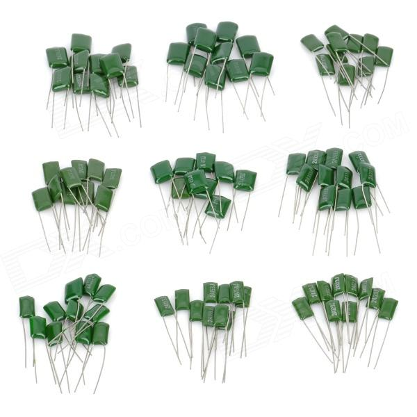 Low-Frequency Circuit Capacitors Set - Green (90 PCS) - DX - DXDIY Parts &amp; Components<br>Quantity: 90 - Color: Green - Material: Terylene + metal - Specification: Pin patch: 0.6cm; Voltage: 100V - Features: 103 capacitor: 0.01uF; 123 capacitor: 0.012uF; 153 capacitor: 0.015uF; 223 capacitor: 0.022uF; 273 capacitor: 0.027uF; 333 capacitor: 0.033uF; 473 capacitor: 0.047uF; 563 capacitor: 0.056uF; 683 capacitor: 0.068uF - Application: Suitable for low-frequency circuit - Other: Great for DIY project - Packing List: 90 x Capacitors<br>