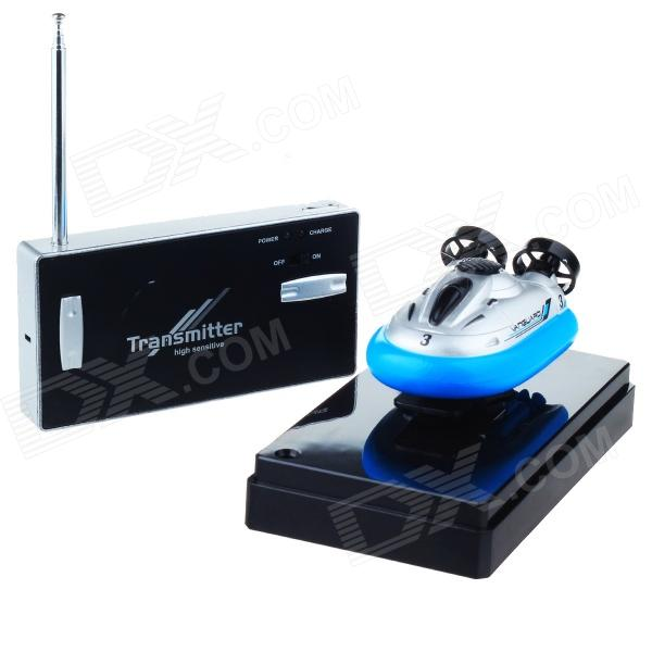 Mini Rechargeable 2-Channel Radio Control R/C Hovercraft Toy - Blue + Black 2 channel ir remote control r c frog toy green