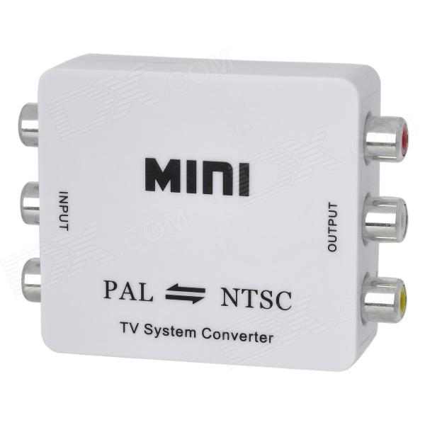 Mini PAL to NTSC Mutual Audio Video Converter - White (EU Plug / 100~240V) vk 123 mini hd pal ntsc mutual conversion tv system converter adapter for single format video equipment