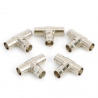 BNC Female to Dual Female T Type Connectors - Silver (5 PCS)