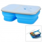 Portable Collapsible Folding Silicone Lunch Box - Blue