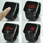 "Square 1.8"" LED Red Backlight Touch Screen Wrist Watch - Black"