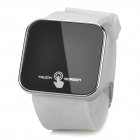 "Square 1.8"" LED Red Backlight Touch Screen Wrist Watch - White + Black ( 1 x CR2032)"