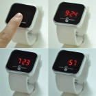 "Square 1.8"" LED Red Backlight Touch Screen Watch - White + Black"